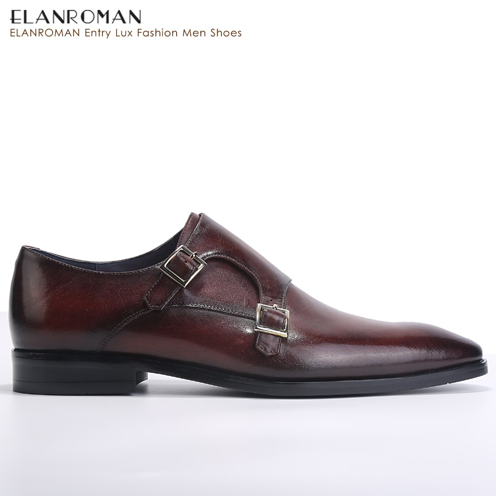c8dc8a31cbc8c ELANROMAN Men Dress Shoes Luxury Brand New fashion Double Monk Strap Height  Increase Handmade Ital Men Formal Shoes -in Formal Shoes from Shoes on ...