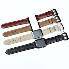 MAIKES vintage genuine cow leather bracelet for apple  42mm 38mm