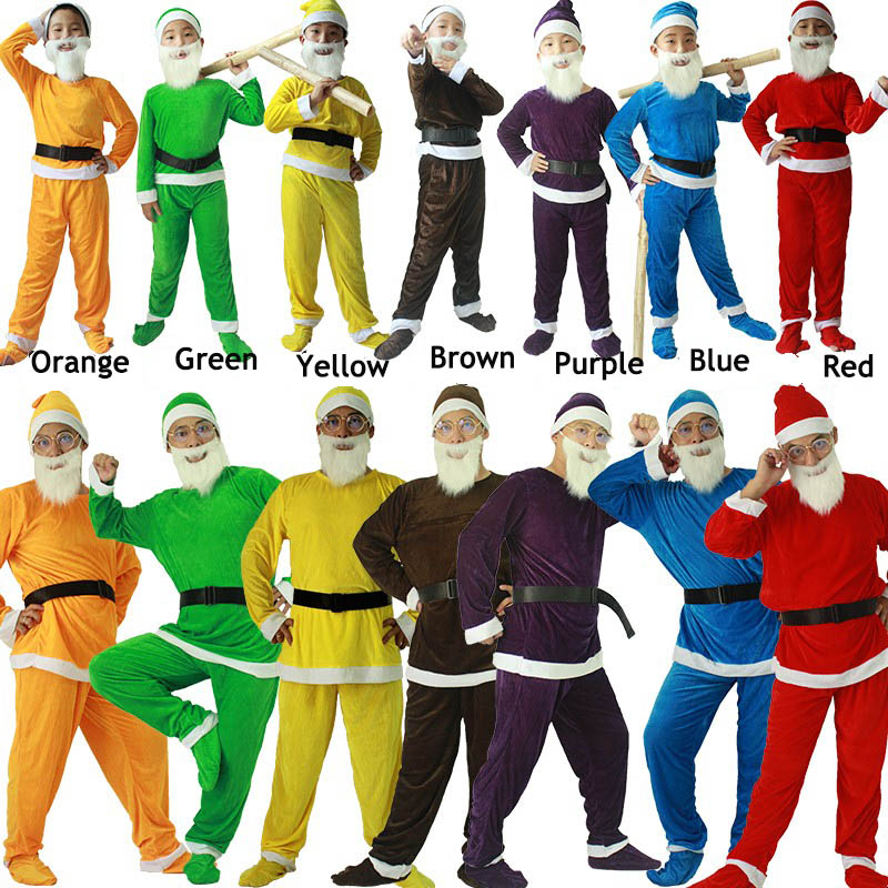 Adult Man Santa Dwarf Costume Full Sets Carnival Festival Long Sleeve Fleece Stage Outfit Free Shipment-in Movie & TV costumes from Novelty & Special Use
