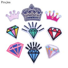 Prajna Costura Patches Diamond Crown Blingbling Stickers Clothes Queen Fashion Women Accessories Iron On Patch DIY Jeans T-shirt(China)