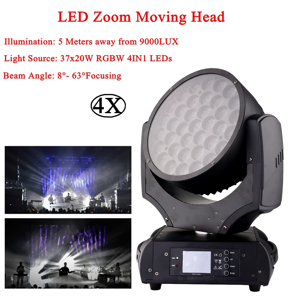4Pcs/Lot 2020 NEW 37x20W LED Wash Beam Moving Head Lights Zoom DMX512 37 CH For Disco DJ Stage Wedding Party Decorations Lamp