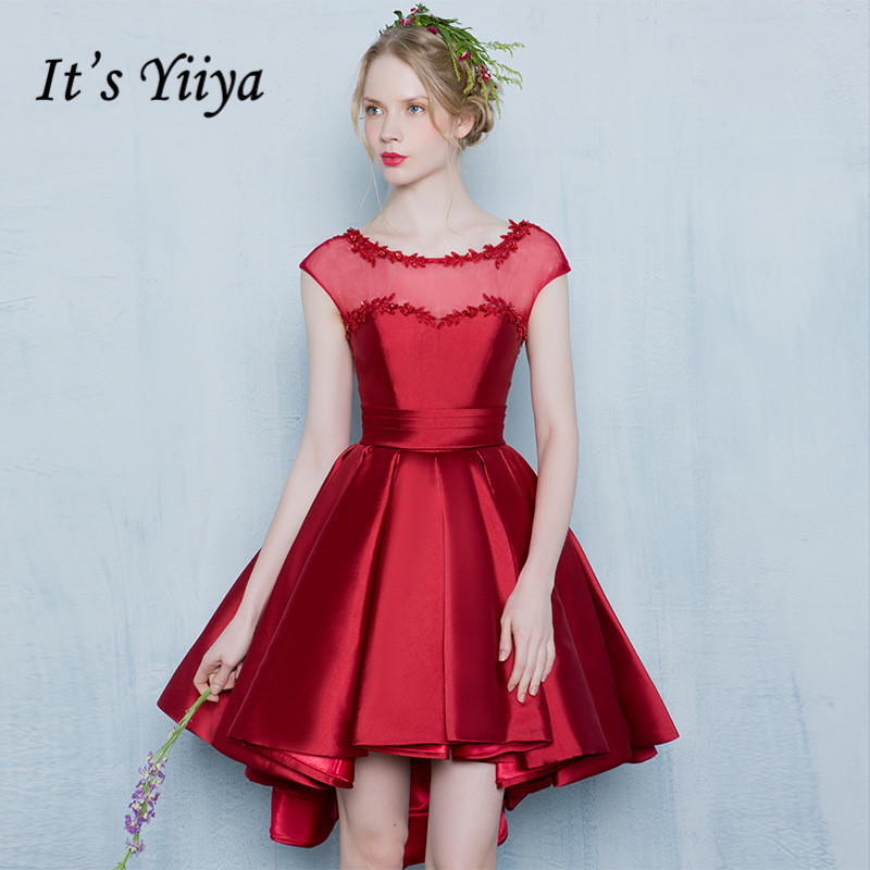 It's YiiYa 2017 Wine Red O-neck Illusion Sleeveless High/Low   Cocktail     Dresses   Simple Lace Short Party   Dresses   L179