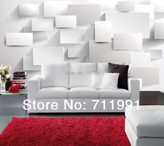 Custom modern wallpaper, 3D Box Photo mural for the living room ...