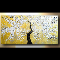 Hand Painted Abstract Thick Palette Knife Oil Painting On Canvas White Flowering Tree Gift Idea Flower
