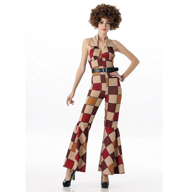 3a821c67ce1 Maclover Free Shipping 60s 70s Retro Hippie Disco Costumes Women Sleeveless  Jumpsuit Halloween Cosplay