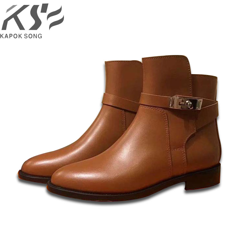 2018genuine leather women kelly boots short luxury designer brand boots kelly buckle H boots really really leather winter boots maite kelly aurich