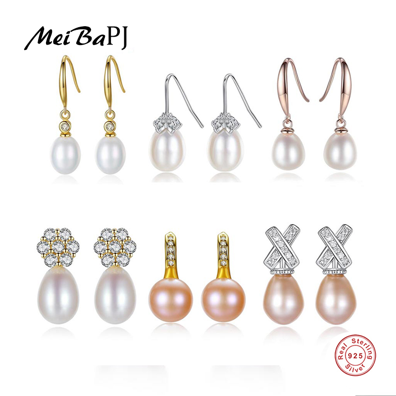 925-Sterling-Silver Earrings Natural-Pearl Women Fashion Real Meibapj for Wholesale-Price