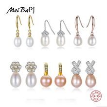 [MeiBaPJ] Wholesale Price Natural Pearl Drop Earrings Real 925 Sterling Silver Fashion Earrings for Women