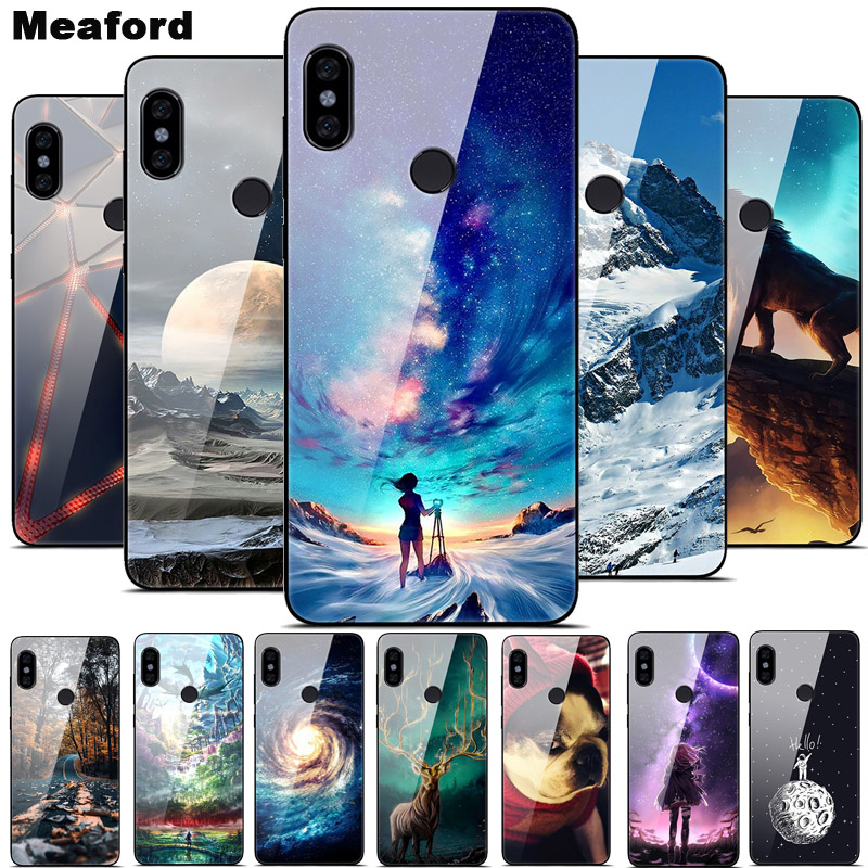 Glass Case For Xiaomi Redmi Note 5 6 7 Pro Space Hard PC Glass Case for Xiaomi Mi A2 Lite 8 Lite Redmi 5 Plus S2 7 Phone Cover