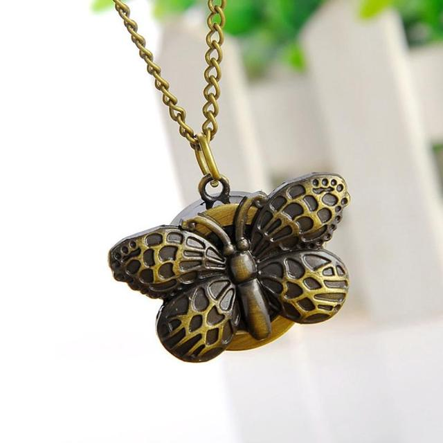 Elegant Vintage Butterfly Quartz Necklace Pendant Pocket Watch With Sweater Chai