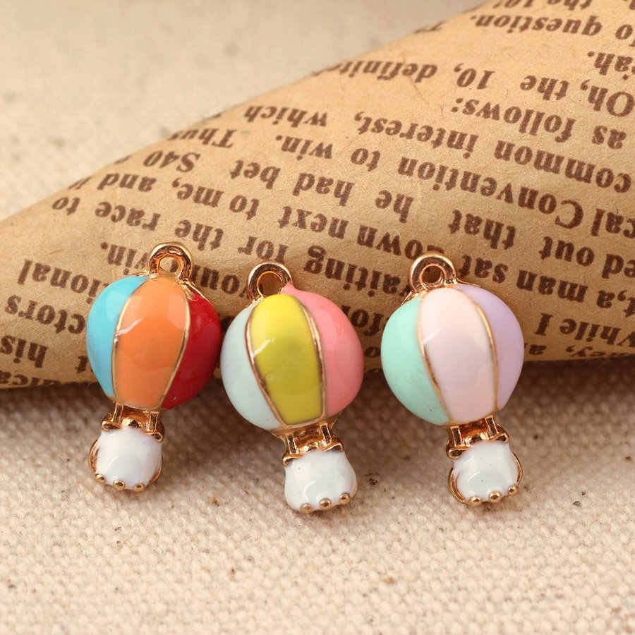 10pcs 17*10MM Mix color Fashion Diy gold alloy enamel hot air balloon charms metal pendants for bracelet earring jewelry making