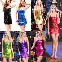 Sexy Babydolls für Frauen Hot Faux Leder Schwarz Kleid Mit Panty Offenen Bh Latex Catsuit Club Dance erotische dessous Nachthemd