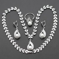 925 Silver Color S Shaped imitation White Pearl Jewelry Set For Women Wedding Gift Necklace Earring Ring js31