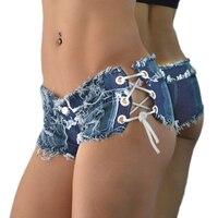 Disco Dance Sexy Women S Summer Denim Shorts Lace Up Tie Tassel Micro Mini Jeans Shorts