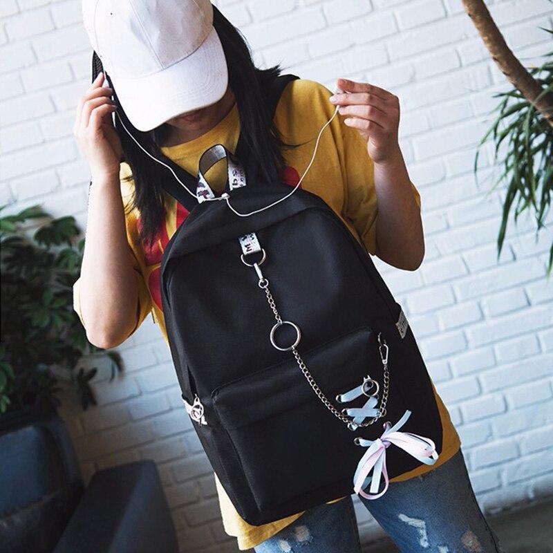 2018 Japan Rucksack Mode Frauen Rucksack Bänder Hängende Kette Ring Teenager Mädchen Rucksack Weibliche Täglich Mochila Rucksack Tasche