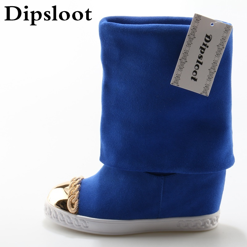 Autumn Fashion Blue Suede Leather Women Slip On Boots Metal Round Toe Ladies Increasing Heel Boots Casual Style Mid-Calf Boots 2016 winter women short snow boots fashion suede round toe low heel shoes big size 30 52 ladies slip on mid calf tassel boots