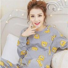 Cartoon Pajamas Women Sleepwear Long Sleeve Pyjama Maternite Mother Nighties Nursing Clothes Nightgowns Sleepwear 70M068