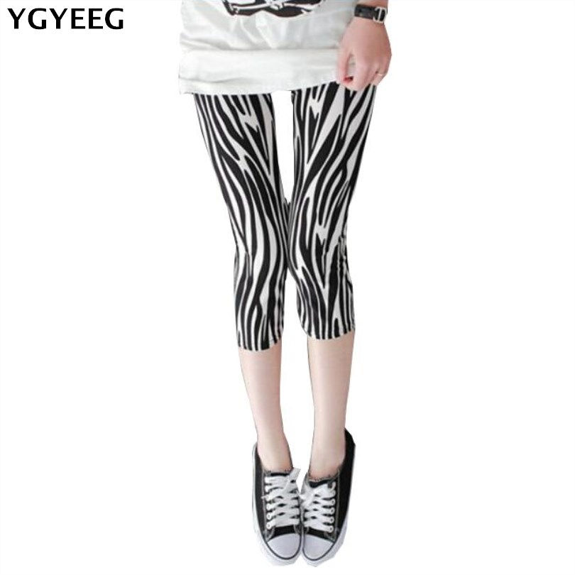 YGYEEG Elastic Calf-Length Pencil Print   Pants   Women 2019 Summer Fashion Lady Skinny Leggings High Quality Female Slim   Capris