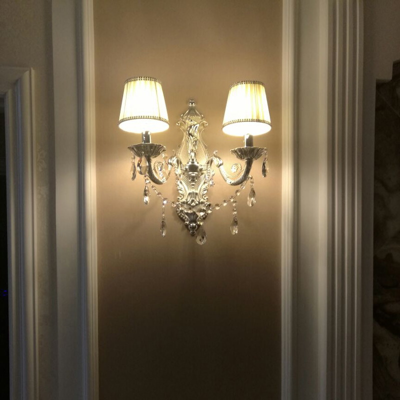 Bathroom Light Decoration Led Wall Switch Design Lamps Antique Lamp Silver Color Indoor Crystal Lighting Bedroom