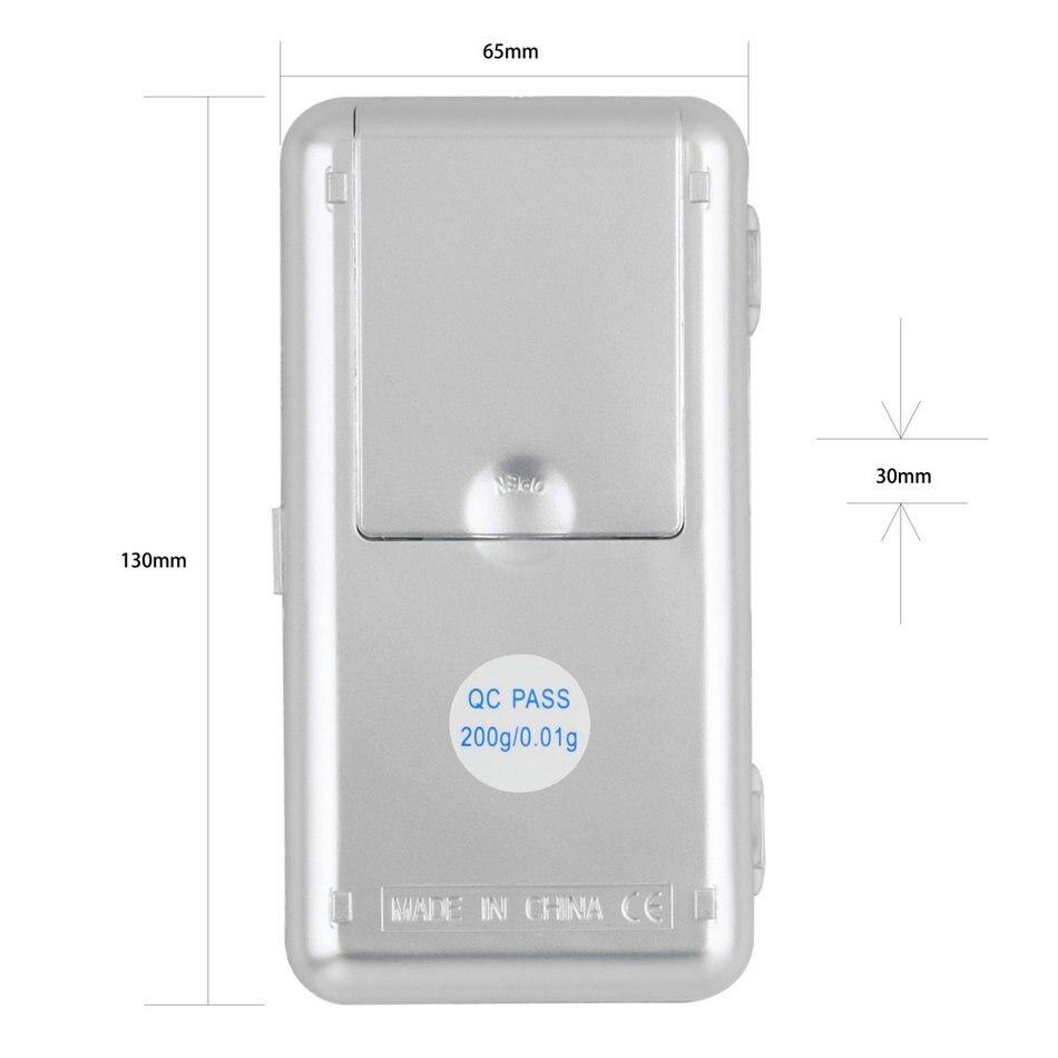 1 vnt 200 g / 0,01 g elektroninės mini skaitmeninės kišenės - Matavimo prietaisai - Nuotrauka 2