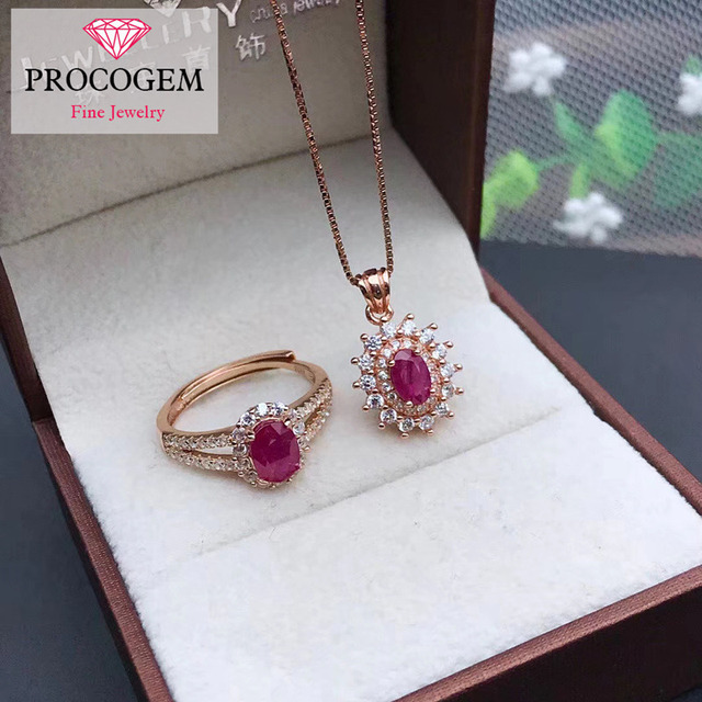 Natural Burna Ruby Jewelry sets for Women Oval shape Genuine gemstones Classic Party gifts fine Jewelry 925 Sterling Silver #326