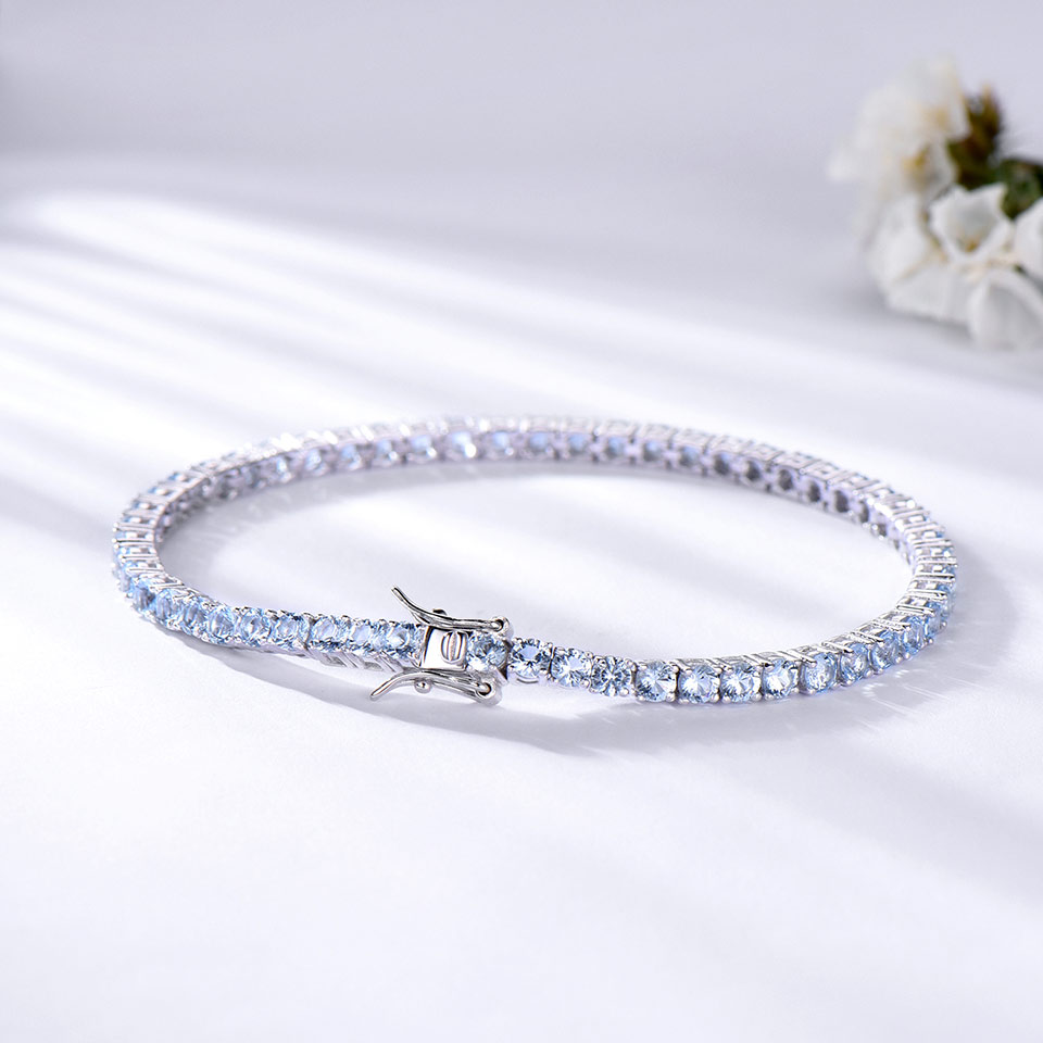 925 Sterling Silver  sky blue topaz bracelet for women (4)