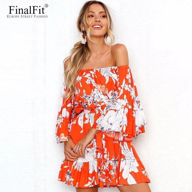 Off Shoulder Boho Dress Women Fl Print Belted Flounce Strapless Bohemian Summer