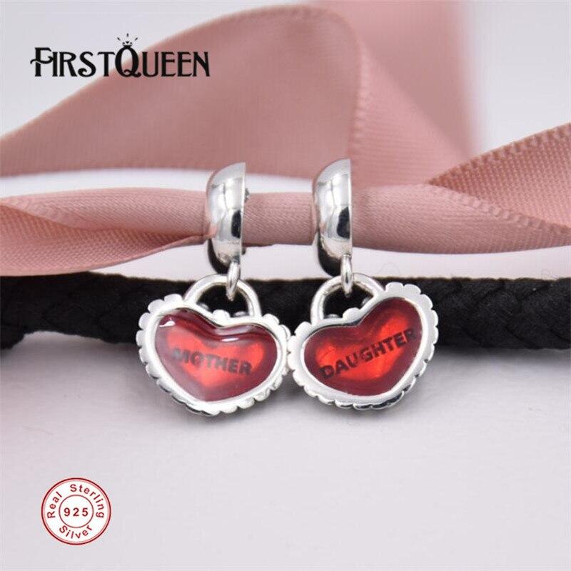 Firstqueen Piece Of My Heart, дочь, из двух частей мотаться Шарм Fit Серебро 925 первоначально Pulseira berloque DIY Подвеска Красивые ювелирные изделия