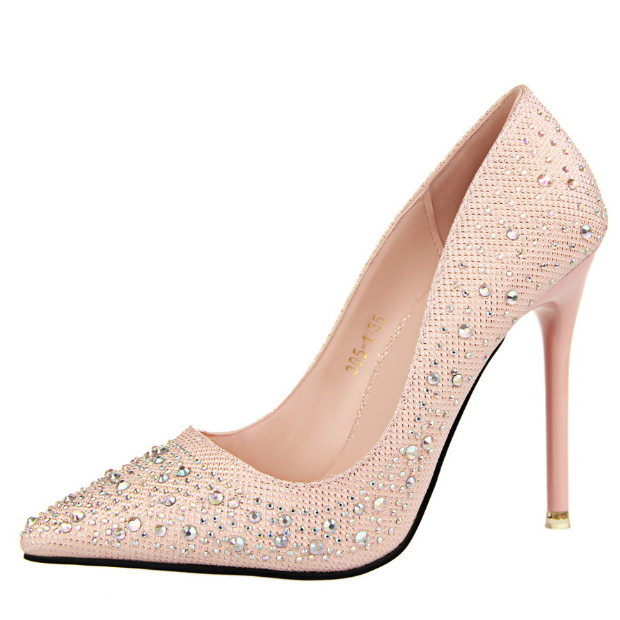 10 CM Women High Heels Shoes Pointed Toe Crystal Women Pumps Slip On