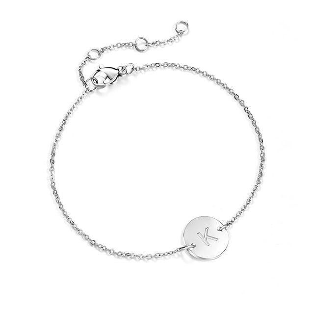 design intemporel 7a20d 7890a € 4.5  AOLOSHOW Bracelet Initial pour Femme argent acier inoxydable gravure  poli chaîne lettre disque bracelets porte bonheur Femme BR1443 dans ID ...