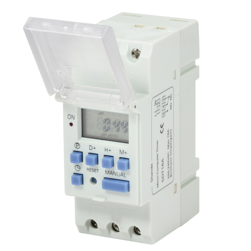 AC 220V 16A Weekly LCD Din Rail Digital Programmable Timer Switch Microcomputer Electronic Relay Control Timer Controller chint nkg3 nkg 3 lcd microcomputer astro time switch sunrise sunset based on latitude din rail digital timer programmable relay