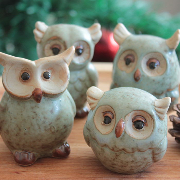 Green Brown Owl Ceramic Decoration Home Accessories Porcelain Cute Pottery Figurine Desktop In Statues Sculptures From
