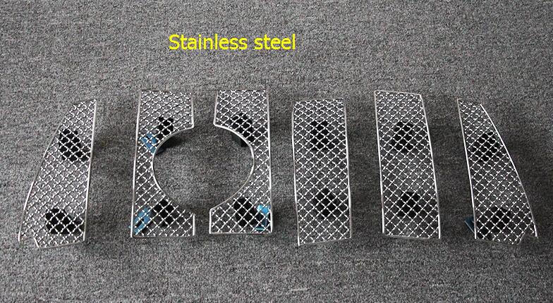 For Toyota Prado FJ150 2014 2015 2016 Stainless Steel Front Grille Grill Bezel Honeycomb Mesh Cover trims 6pcs front center grille grill cover trims for toyota senna 2011 2012 2013 2014 2015