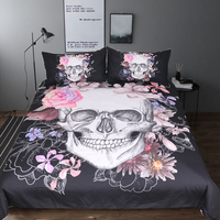 BeddingOutlet Sugar Skull and Floral Duvet Cover Set 3pcs Gothic Bedclothes Flowers Printed Bedding Set Pink And Black Bed Cover 3