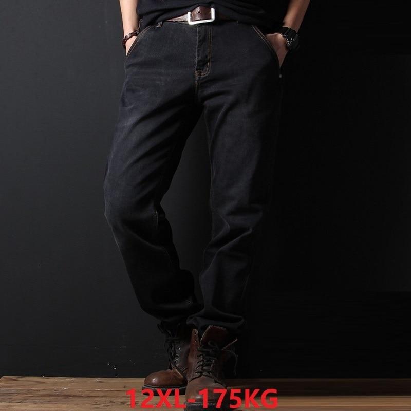 Plus Large Size Jeans Big 10XL 11XL 12XL Autumn Winter Jeans Pants Elasticity Straight 54 56 58 Stretchmen Loose Free Trousers
