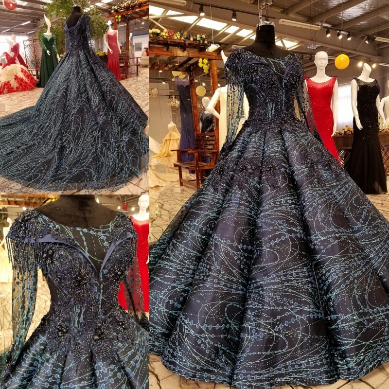 Evening Dresses Elegant long Evening Dresses 2018 Black Lace Prom Party Gowns black prom dress ball gown