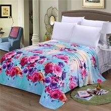 Цвет Цветочным узором Фланелевые Одеяла 150*200 см/180*200 см/200*230 см Путешествия/диван Бросает летом сон одеяло или простыня зима