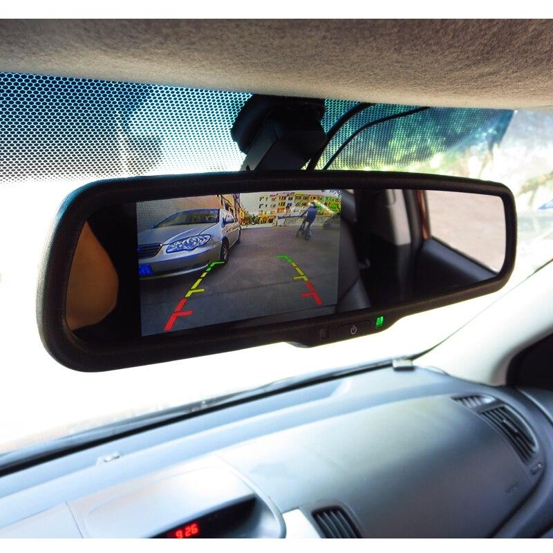 4.3 pouces TFT LCD voiture support spécial rétroviseur moniteur pour système d'assistance au stationnement avec 2 entrées de lecteur vidéo RCA - 5