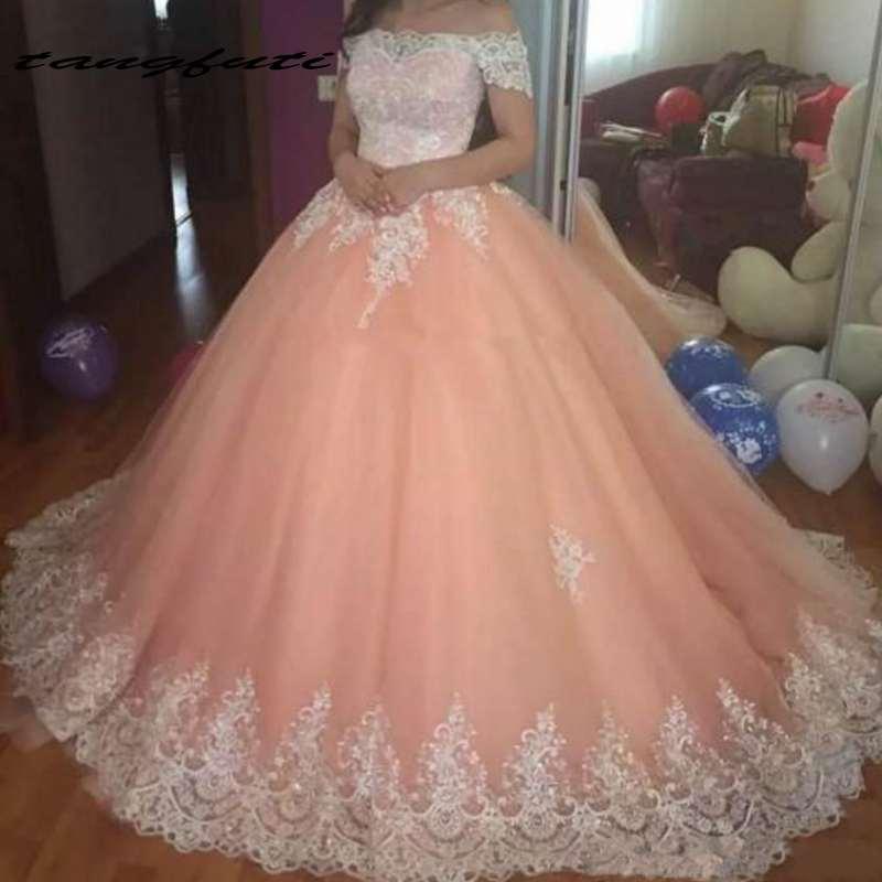 Robe de bal Quinceanera robes hors de l'épaule dentelle Applique formelle robe de bal douce 16 robes quinceanera robes