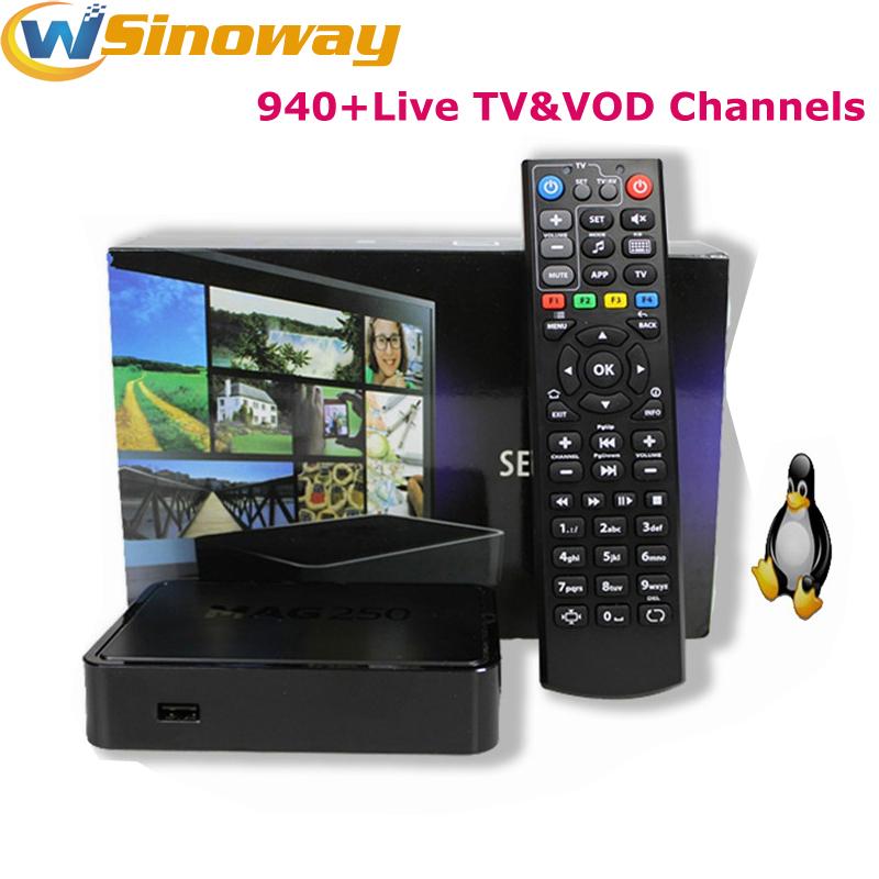 Prix pour Ott tv box MA G250 soutien 1 année QHDTV IPTV APK compte avec 940 + canaux arabe france Afrique sport Ciel IL de ROYAUME-UNI iptv MAG250