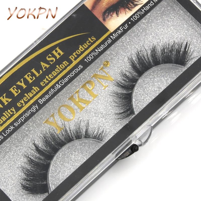 YOKPN Manual Cotton Thread Stalk False Eyelashes Dense Cross Messy Natural Water Mink Fake Eyelashes Smoked Makeup Eye Lashes 1