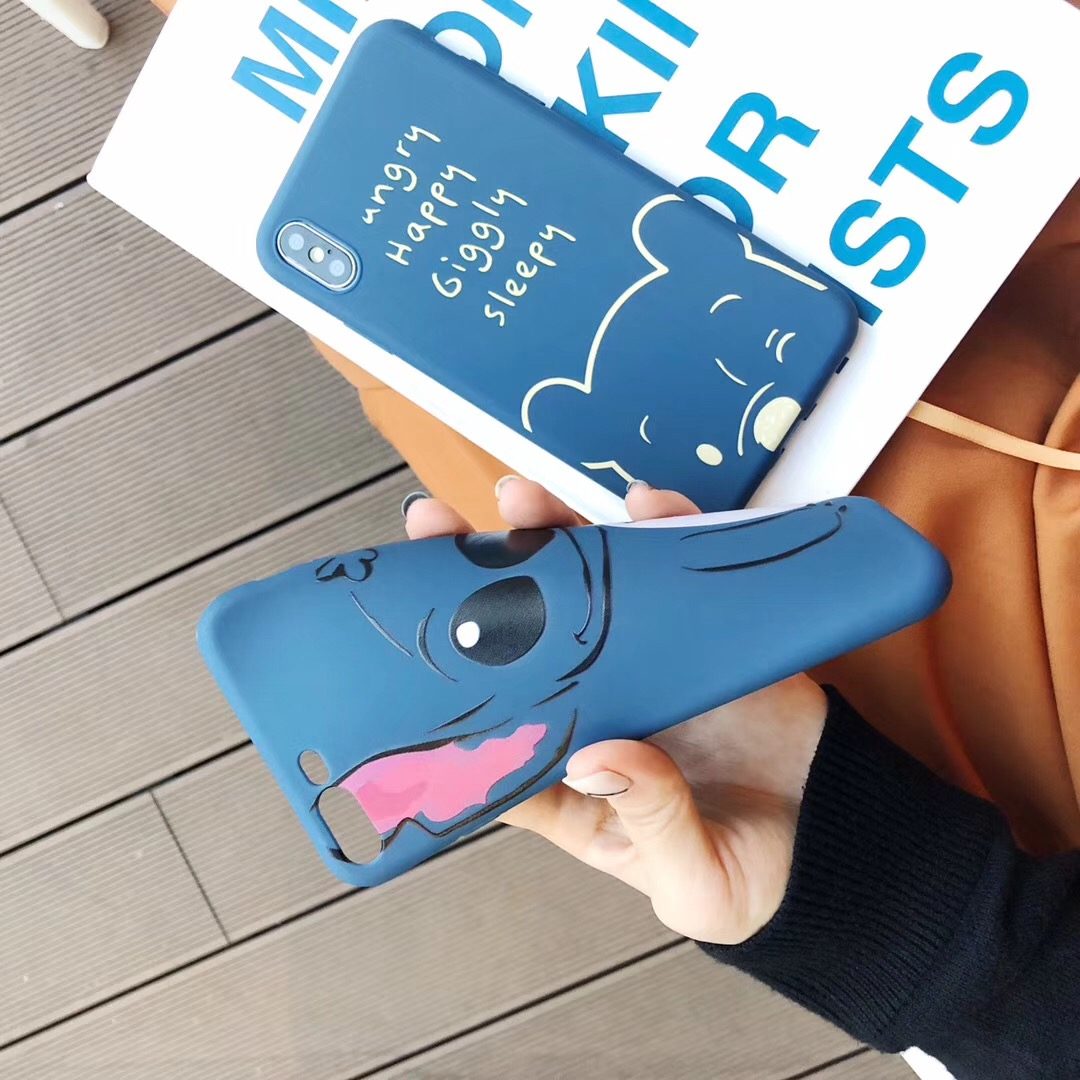 Cute cartoon anime simple funny stitch pooh bear cases soft tpu cover case for iphone 8 7 6 6s plus x xr xs max phone back shell in fitted cases from