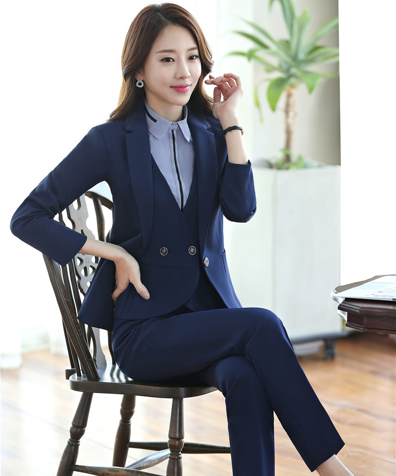 Pant Suits High Quality Ladies Blue Blazer Women Business Suits Formal Office Suits Work Wear Uniforms Pant And Jacket Set Pantsuits