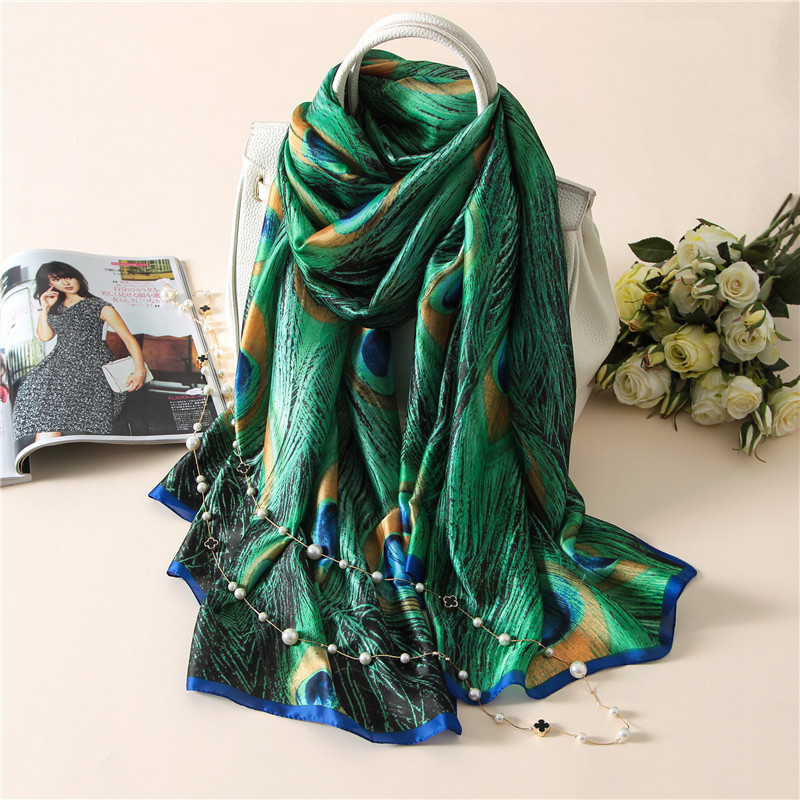 Foulard Women Scarfs Green Peacock Print Silk Shawls And Wraps Pashmina Scarves Lady Beach Scarfs Female Hijab 2020 New