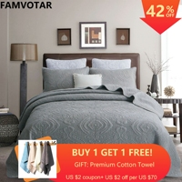 3 stück Luxus Bettdecke Bettdecke Geprägte Bett Abdeckung Solide Grau Rosa Weiß Beige Tröster Übergroßen Quilt Set-in Tagesdecke aus Heim und Garten bei