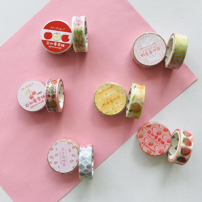 1 Roll Kawaii Picnic Series Strawberry Orange DIY Decorative Masking Tape Stickers Stick Label Book Computer Decor Washi Tape