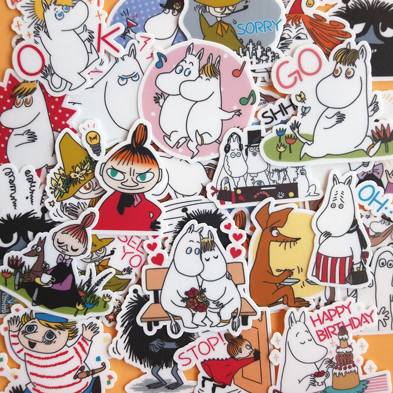 30 Pcs Cartoon Moomin Character Stickers For Home Decor On Phone Book Macbook Laptop Sticker Decal Fridge Skateboard Doodle Toy