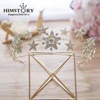 HIMSTORY Hot Shinny Brides European Stars Tiara Crowns Gold Pearls Hairbands Wedding Hair Accessories
