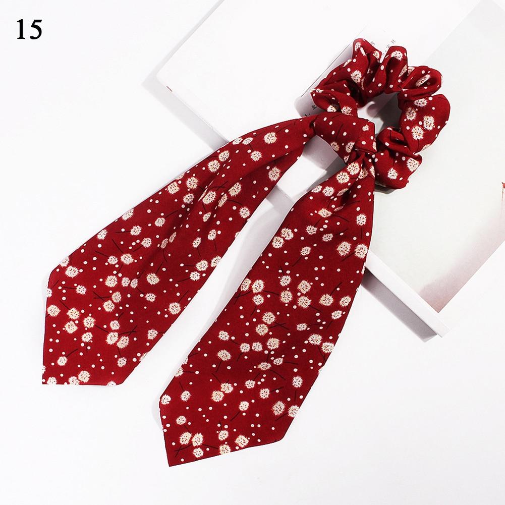 Модный летний шарф «конский хвост», эластичная лента для волос для женщин, бантики для волос, резинки для волос, резинки для волос с цветочным принтом, ленты для волос - Цвет: 15