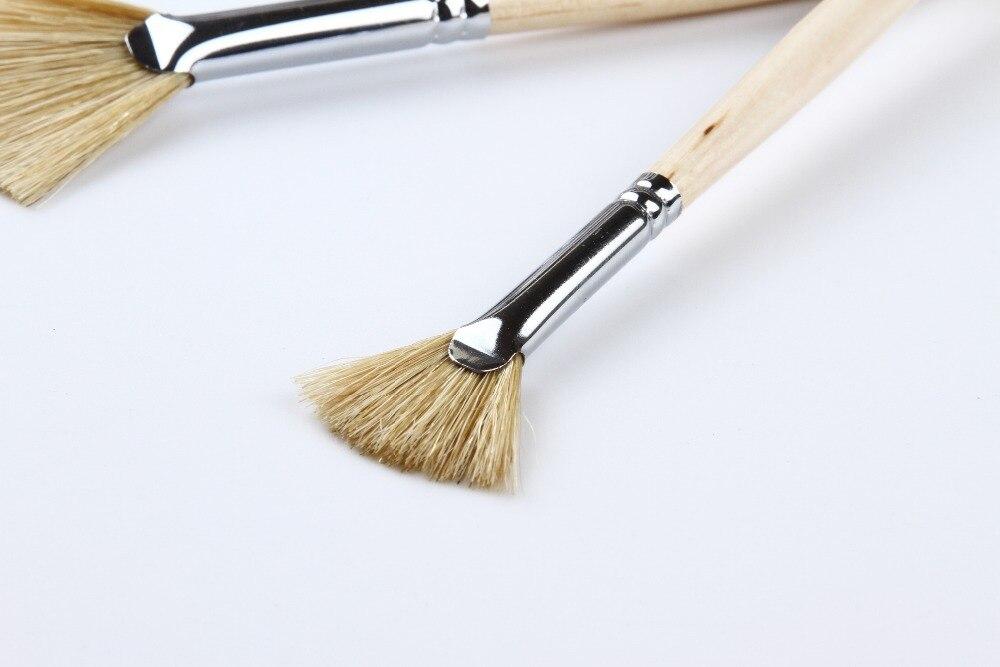 Paint Brush Set Artist Fan Brush Wood Long Hands Painting Brush Set for Oil Paint Acrylic Paint 3PCS
